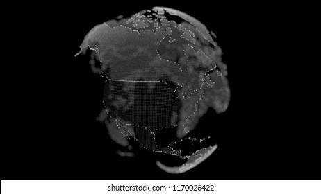 Point and line composed world map, representing the global. Global network connection. World map point, line, composition, representing the global, network connection, international meaning.  3d rende