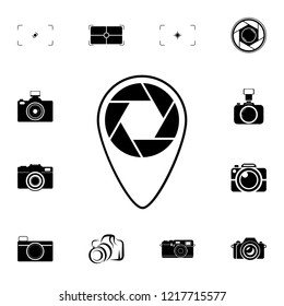 point on the map with focus icon. Detailed set of photo camera icons. Premium quality graphic design icon. One of the collection icons for websites, web design, mobile app on white background