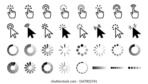 Pointer click icon. Clicking cursor, pointing hand clicks and waiting loading icons. Website arrows or hands cursors tools, computer interface button. isolated symbols collection