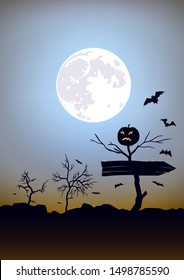 Pointer to the holiday of halloween. Dead tree with pumpkin. Moon background with bats and bushes. Raster version.