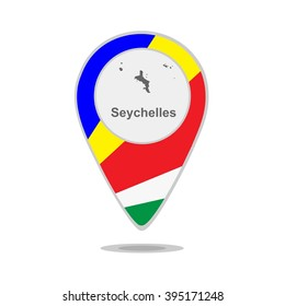 A pointer with map and flag of Seychelles