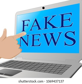 Pointing To Misleading Fake News On A Laptop 3d Illustration. Hoax Report To Misinform Public Is A Misleading Deception.