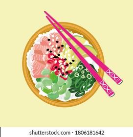 Poke bowl food hawaian salad