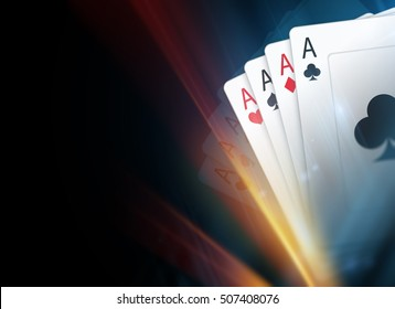 Poker Cards Dark Background Illustration with Light Streak. Poker Backdrop.