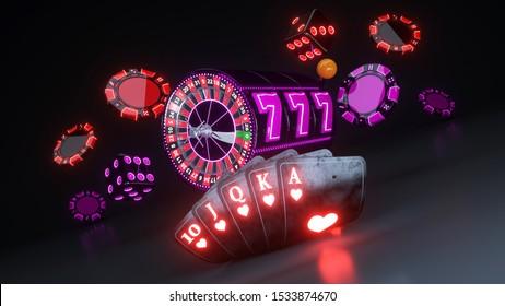 Poker Cards In Flush Royal, Casino Chips, Roulette Wheel And Slot - 3D Illustration