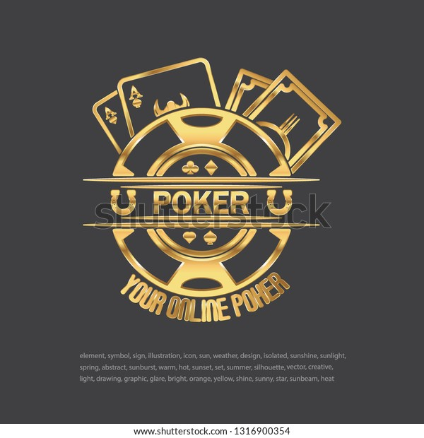 Poker Casino Logo Golden Poker Logo Stock Illustration 1316900354