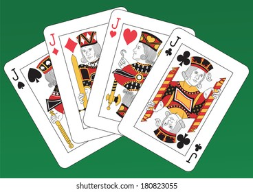 Poker of Jacks playing cards on a green background