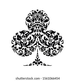 Poker playing card suit clover design shape single icon Single icon pattern isolated on white. Ornament drawing pic for tattoo