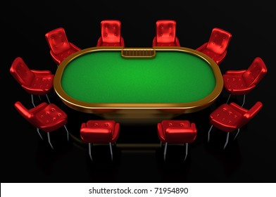 Poker table with chairs top side view isolated on black