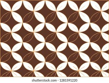 pola batik daun berwarna putih coklat
