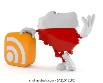 Poland character with RSS icon isolated on white background. 3d illustration