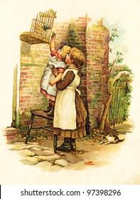 "POLAND - CIRCA 1891: Illustration taken from an original book ""W DOMU I W SWIECIE"" written by Marye Konopnicka. Warsaw, POLAND, circa 1891. Show scenes from children's life. Creator H.Benneta"