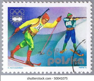 POLAND - CIRCA 1976: A stamp printed in Poland shows biathlon, series devoted Olympic games in Innsbruck 1976, circa 1976
