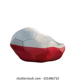 poland deflated soccer ball isolated on white