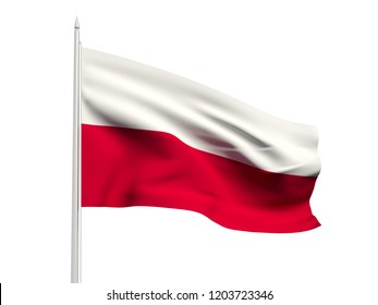 Poland flag floating in the wind with a White sky background. 3D illustration.