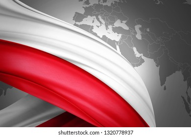 Poland flag of silk with copyspace for your text or images and world map background-3D illustration