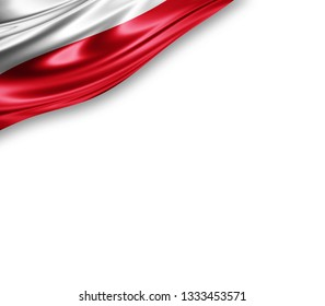 Poland flag of silk with copyspace for your text or images and white background -3D illustration