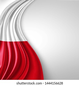 Poland  flag of silk with copyspace for your text or images and White  background-3D illustration