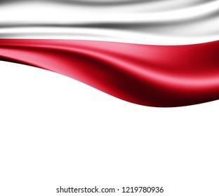 Poland  flag of silk and white background-3D illustration
