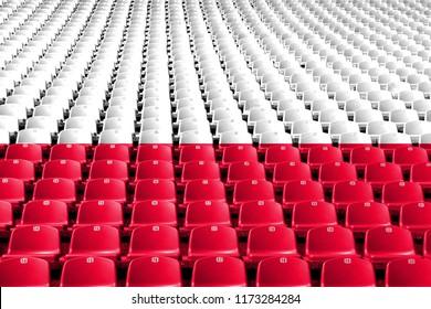 Poland flag stadium seats. Sports competition concept. 3D Illustration