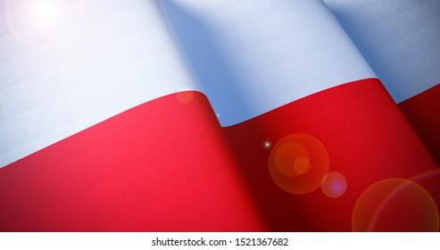 Poland Flag. Warm matte colors. Polish waving flag patriotic background with lens flare effect. 3d illustration
