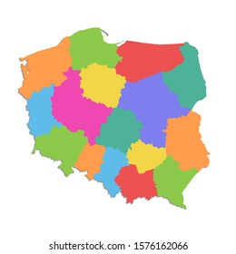 Poland map, administrative division Polish Republic, separate individual states, color map isolated on white background blank raster