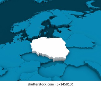 poland map blue background 3D illustration
