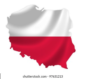 Poland map on a waving flag