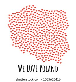 Poland Map with red hearts- symbol of love. abstract background with text We Love Poland.  illustration. Print for t-shirt