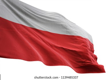 Poland national flag waving in the blue sky realistic 3d illustration isolated on white background
