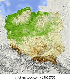Poland. Shaded relief map with major urban areas. Surrounding territory greyed out. Colored according to elevation. Includes clip path for the state area. Data source: NASA