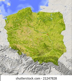 Poland. Shaded relief map with major urban areas. Surrounding territory greyed out. Colored according to vegetation. Includes clip path for the state area. Data source: NASA