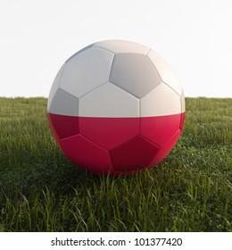 poland soccer ball isolated on grass