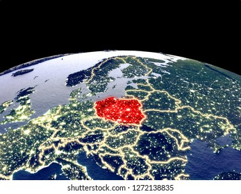 Poland from space on planet Earth at night with bright city lights. Detailed plastic planet surface with real mountains. 3D illustration. Elements of this image furnished by NASA.