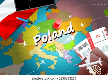 Poland travel concept map background with planes,tickets. Visit Poland travel and tourism destination concept. Poland flag on map. Planes and flights to Polish holidays to Warsaw,Krakow