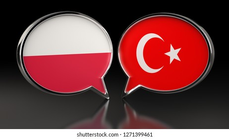Poland and Turkey flags with Speech Bubbles. 3D illustration