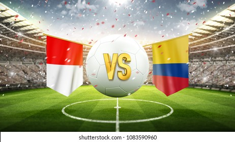 Poland vs Colombia. Soccer concept. White soccer ball with the flag in the stadium, 2018. 3d render