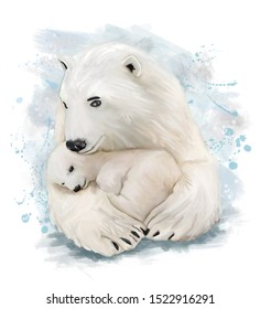 A polar bear cuddles her cub