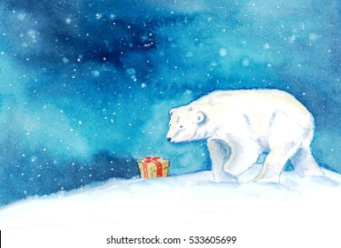 A polar bear finds a present in the snow
