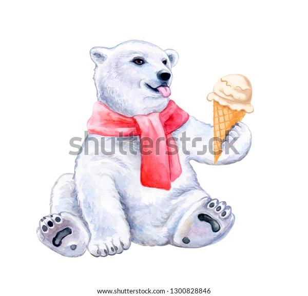 Polar Bear Ice Cream White Bear Stock Illustration 1300828846