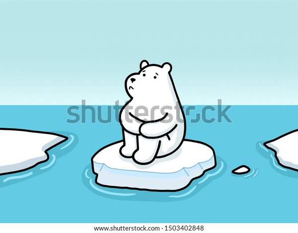 polar bear and melting ice from global warming Vector Illustration. White bear and melting ice from global warming Vector Illustration.