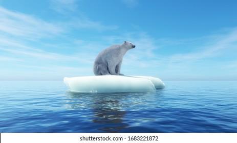 Oso polar en un trozo de iceberg. Concepto de calentamiento global . Esta es una ilustración 3d de representación .