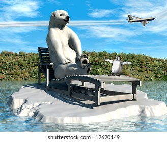 Polar bear on a recliner with his penguin friend enjoying the effects of global warming