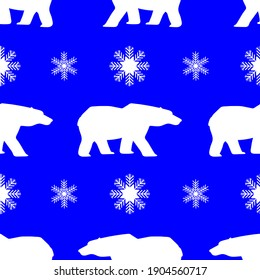 Polar bear and snowflakes, seamless pattern