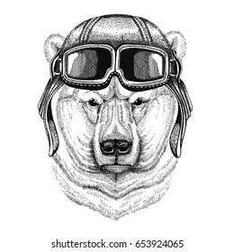 Polar bear wearing leather helmet Aviator, biker, motorcycle Hand drawn illustration for tattoo, emblem, badge, logo, patch