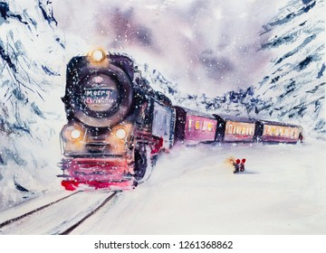A polar old fairy train, a snowy landscape, the dwarfs see off or meet the train. Fantastic picture, watercolor illustration.