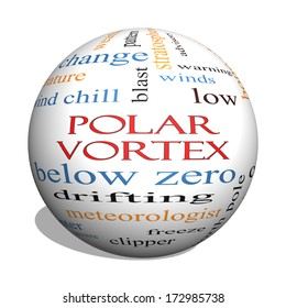 Polar Vortex 3D sphere Word Cloud Concept with great terms such as cold, wind, chill, ice and more.