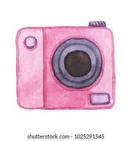 Polaroid. Watercolor, roses camera. Vintage watercolor camera. Hand drawn  illustration. Photo. Photographer. Photo camera. Lens camera. Photography.