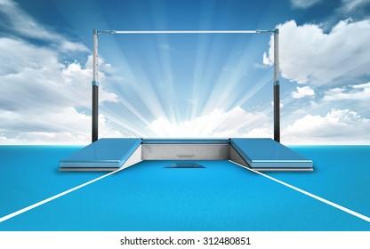 pole jump post outside sport theme render illustration background