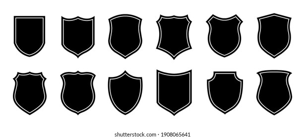 Police badge shape. military shield silhouettes. Security, football patches isolated on white background